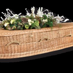 green burial wicker casket